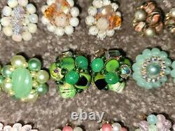 38 Vintage Cluster Bead AB Rhinestone Clip On Earrings + 2 Brooch Lot