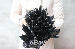 3840g(8.4lb) Natural Beautiful Black Quartz Crystal Cluster Tibetan Specimen