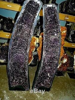 39.5 Inch Amethyst Crystal Cluster Cathedral Geode Pair Polished Blue Agate Rim