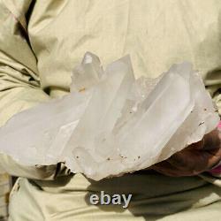 4.2LB Huge Natural Clear White Crystal Quartz Cluster Mineral Specimen Healing
