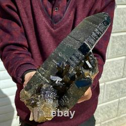 4.4 LB Natural Beautiful Black Quartz Crystal Cluster Mineral Specimen RARE