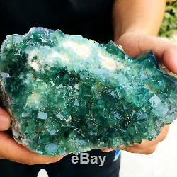4.41LB NATURALGreen FLUORITE Quartz Crystal Cluster Mineral Specimen FLLSFFC194