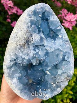 4.59LB Natural celestite geode quartz cluster crystal specimen healing HC1