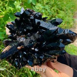 4.86LB Natural Beautiful Black Quartz Crystal Cluster Mineral Specimen Rare 419B