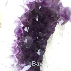 4.95LB Natural amethyst cluster quartz crystal geode specimen healing+standUN148