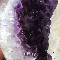 4.9LB Natural Amethyst geode Quartz Cluster Crystal Specimen Healing +stand GA19