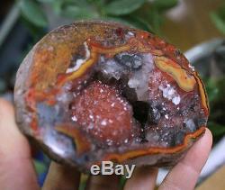 4 Natural Red Agate Crystal Cluster Edge Geode Quartz Cathedral Specimen