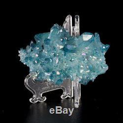 4 Rich Turquoise AQUA AURA QUARTZ Lrg Cluster Sharp Gemmy Crystals ARK for sale