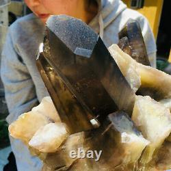 4060g Large Natural Black Smoky Quartz Crystal Cluster Rough Healing Specimen
