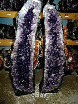 42.5 In. Amethyst Crystal Cluster Cathedral Geode Pair Museum Grade Lg. Crystals