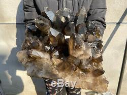 44.6 LBS Natural Smoky Quartz Cluster Healing Crystal Point Mineral Specimen B01