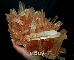 4437g AAA+++ Clear Natural White QUARTZ Pink Skin Crystal Cluster Specimen