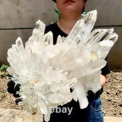 45.43LB Clear Natural Beautiful White QUARTZ Crystal Cluster Specimen Madagascar