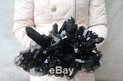 4680g(10.3lb) Natural Beautiful Black Quartz Crystal Cluster Tibetan Specimen