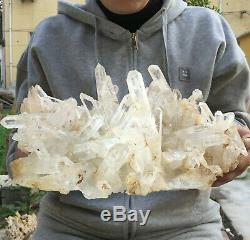 4700g Large Natural Clear White Quartz Crystal Cluster Rough Healing Specimen