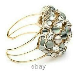 $495 Alexis Bittar Quarz Crystal Cuff Bracelet Semi Precious Stone Cluster Nwt