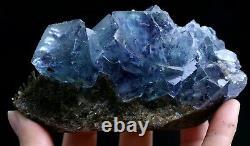 496g Transparent Blue Purple Cube Fluorite CRYSTAL CLUSTER Mineral Specimen