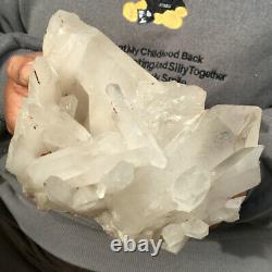 4LB Huge Natural Clear White Crystal Quartz Cluster Mineral Specimen Healing