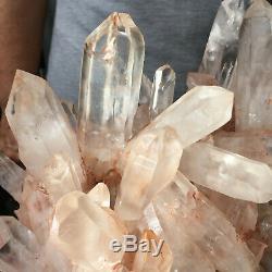 5.0lb Large Natural Clear Pink Quartz Crystal Cluster Rough Healing Specimen