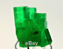5.20 CT. Full D/T Top Green Natural Emerald Transparent Crystal Bunch@ Swat Pk