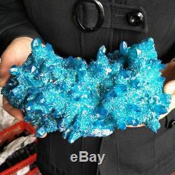 5.2LB Rainbow Blue Aqua Aura Titanium Coating Quartz Crystal Cluster Points