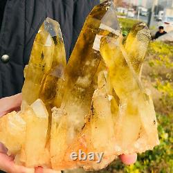 5.33LB Natural citrine Crystal quartz Cluster Mineral Specimen Healing