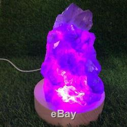 5.87LB Natural Amethyst lamp Geode Quartz Cluster Crystal Specimen Healing B163