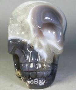 541g Natural Agate Geode crystal gemstone Carved Skull Cluster Skeleton Healing