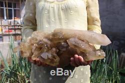 5540g Natural Beautiful Citrine Smoke QUARTZ Crystal Cluster Mineral Specimen