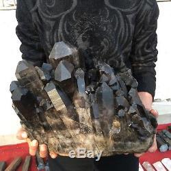 56.2lb 89.6 Natural Beautiful Black Quartz Crystal Cluster Specimen DB73