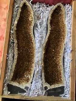 57 Pair Citrine Cathedral Geode Crystal Quartz Cluster Specimen Brazil Amethyst