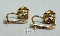 583 Soviet Gold Earrings Solid 14 KT Rose Gold Quartz Vintage Russian Gold RARE