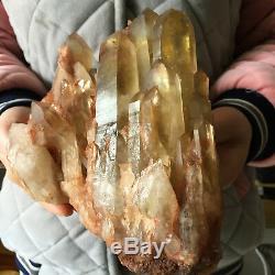 6.0lb Large Natural Clear Smoky Citrine Quartz Crystal Cluster Healing Specimen