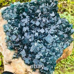 6.28LB NATURAL Green FLUORITE Quartz Crystal Cluster Mineral Specimen