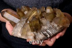 6.2lb Natural Clear Smoky Citrine Quartz Point Crystal Cluster Healing Mineral