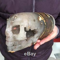 6.5lb 3.8 Natural Rare Skull Agate Crystal Quartz Geode Clusters EC33