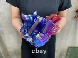 6.6LB titanium rainbow aura quartz cluster point healing crystal specimen reiki