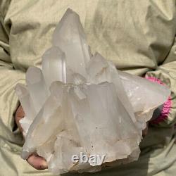 6.87LB Huge Natural Clear White Crystal Quartz Cluster Mineral Specimen Healing