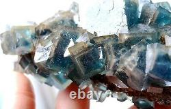 607gTransparent Blue-Green Cube Fluorite CRYSTAL CLUSTER Mineral Specimen/China