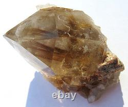 63.5 Gram Water Clear Quartz Cluster with Golden Rutile Inclusions. Brazil