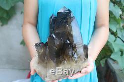 6400g Natural Beautiful Black Smoke Quartz Crystal Cluster Tibetan Specimen #101