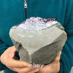 7.3LB Natural Amethyst Geode Quartz Crystal Cluster Healing Stone 7.6Tall