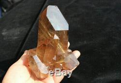 702g Natural golden Hair Rutilated Quartz Crystal original cluster- stand up