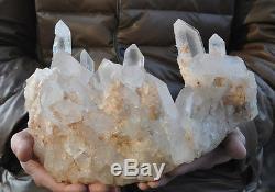 7090g Huge nature clear crystal quartz gemstone cluster point specimen reiki hea