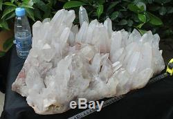 72.1lb Natural Red Phantom Ghost Clear Quartz Crystal Cluster Points Original