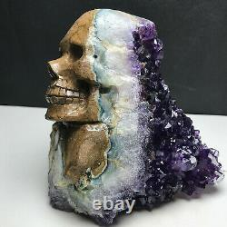 724g Natural Purple Crystal Cluster, Specimen Stone, Hand-Carved, exquisite skull