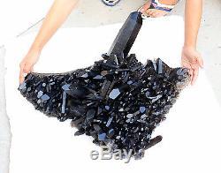 79.86LB Natural Rare Beautiful Black QUARTZ Crystal Cluster Mineral Specimen