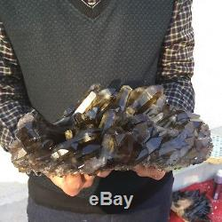 8.2lb 3.9 Natural Beautiful Black Quartz Crystal Cluster Tibetan Specimen BK7