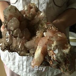 8.2lb Huge Natural Red Quartz Crystal Cluster Mineral Rough Healing Specimen