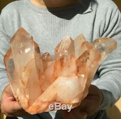 8.3lb Large Natural Clear Pink Quartz Crystal Cluster Rough Healing Specimen